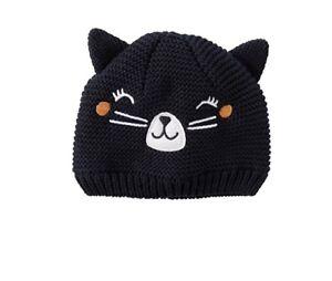 c64bb0fd0 Carters NWT Infant Girls Black Knit Cat Hat Size 0-3 M Months $16 ...
