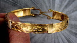 Bracelet-in-14kt-Rolled-Gold-Size-6-to-9-Wire-Wrapped-Unisex