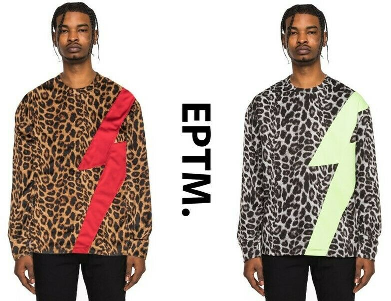 New EPTM. Men's French Terry Lightning Animal Print Tee L s T-Shirt   s,M,L,XL