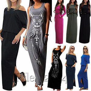 Plus-Size-Women-Long-Maxi-Dress-Summer-Party-Beach-Holiday-Casual-Tunic-Sundress