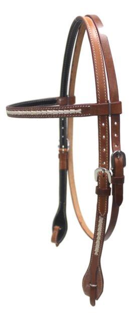 D.A. Brand Medium Oil Straight Brow Headstall Rawhide Braid Horse Tack Equine