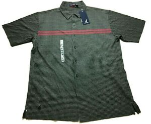 Nautica-New-Mens-Gray-Plaid-Short-Sleeve-Button-Front-Shirt-Size-XL