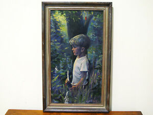 OIL-ON-BOARD-PAINITNG-YOUNG-BOY-IN-THE-WOODS-SIGNED-M-PRITCHARD-1964