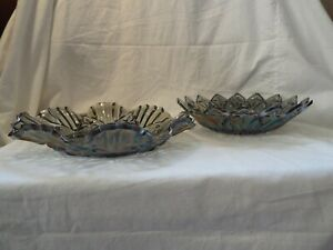 INDIANA-GLASS-GRAY-IRIDESCENT-CARNIVAL-GLASS-DISH-BOWL-CANDY-DISH-SET-OF-2