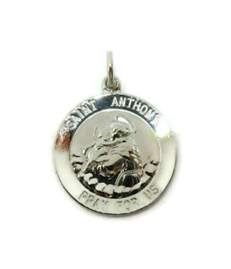 Sterling-Silver-0-925-Saint-Anthony-Round-Medal-Necklace-Pendant-Charm