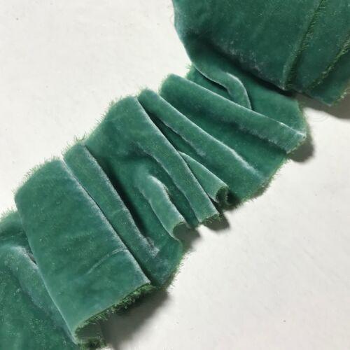 Teinté à la main Vert Sauge Soie Ruban de velours 3 largeurs au choix