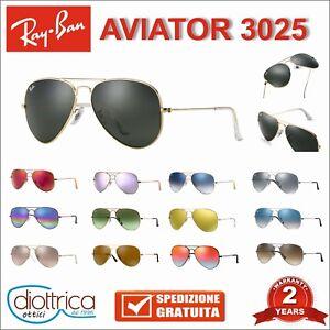 25798ab014 Dettagli su Occhiale da sole RayBan Aviator 3025 RB specchio polarizzati 55  58 62 occhiali