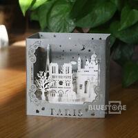 Kirigami Origami Pop-Up Cards 3D Greeting Cards Paris Lovers Birthday Wedding