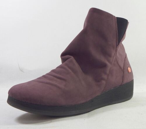 Softinos AY0411SOF Purple Soft Smooth Leather Zip Ankle Boots
