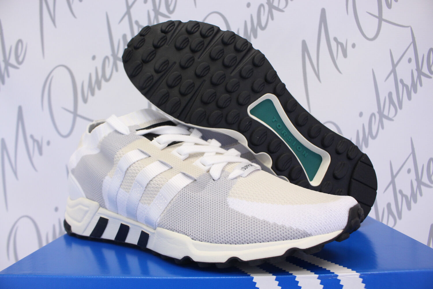 ADIDAS EQT SUPPORT RF PRIMEKNIT SZ 8.5 WHITE CORE BLACK OFF WHITE PK BA7507