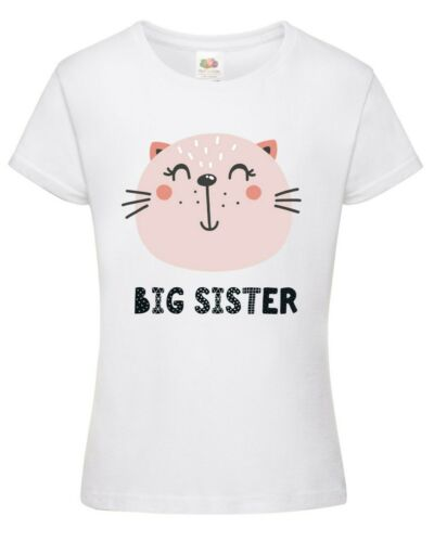 Girls Big Sister Animal T-Shirt Printed Gift Present Cute Top Pregnancy Reveal