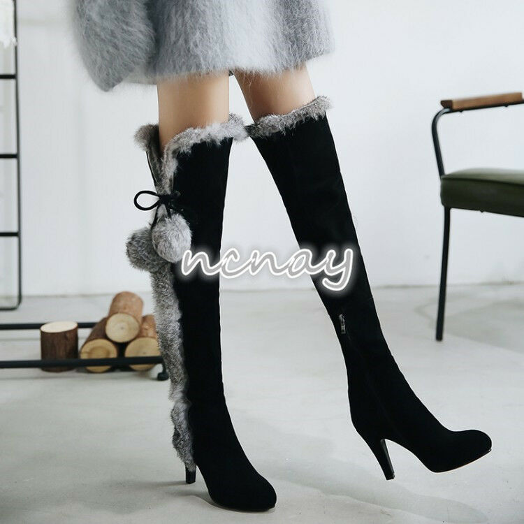 Women Stiletto Suede Leather Rabbit Fur Pompom Winter Warm Knee High Boots shoes