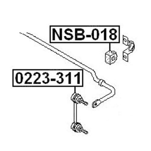 2 NSB-018 Rear Stabilizer Sway Bar Bushing For NISSAN X-Trail SUV 54613-8H518