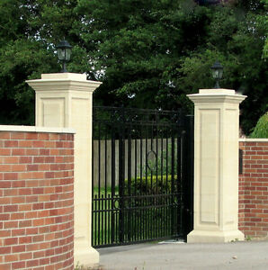 ... PAIR OF LARGE STONE GATE POSTS PILLARS FROM
