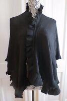 Pretty Cullen Cashmere Ruffle v Wrap – Black – - $400