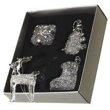 Conjunto de 4 Vidrio Colgante de Árbol de Navidad Decoración Con Detalles Plateados
