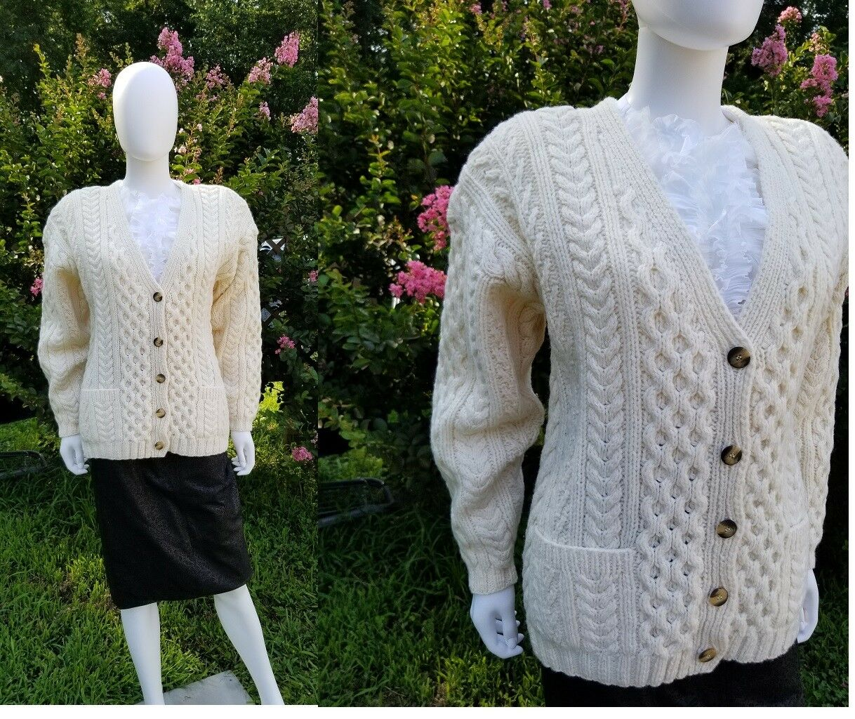 Vintage women Marsh Landing Ivory Wool hand knit Cardigan S