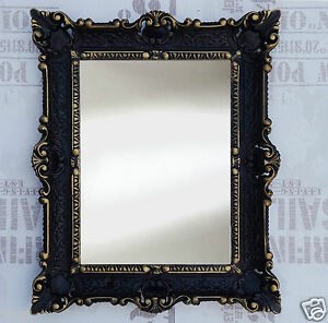 Espejos Romantic Espejo De Pared Negro Oro Antiguo Barroco Bad Pasillo Vanidad 56x46