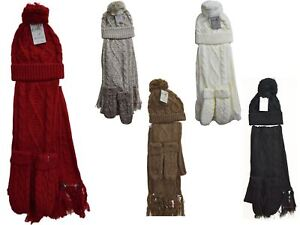 Womens-Ladies-Woolly-Thick-Knit-Hat-Scarf-And-Gloves-Mittens-Set-Knitted-Woollen