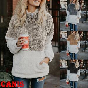 Fleece-Fur-Jacket-Outerwear-Tops-Winter-Warm-Hooded-Fluffy-Coat-Fashion-Women-039-s