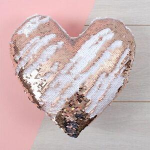 Heart-Shape-Plush-Reversible-Sequin-Cushion-Rose-Gold-Blush-Pink-White