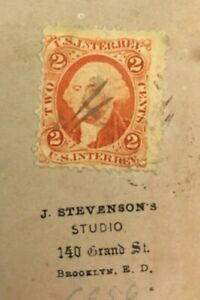 1866-2-Cent-Stamp-Washington-US-INTER-REV-on-Antique-Real-Photo-of-Baby-in-dress
