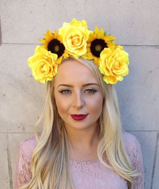 Large Yellow Rose Sunflower Flower Headband Headpiece Hair Crown