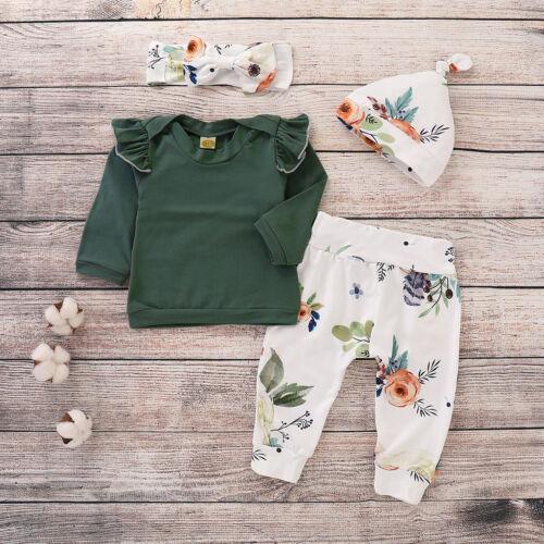 4PCS Newborn Infant Baby Girl Cotton Tops Floral Pants Outfits Set Clothes 0-18M