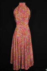 RARE-VINTAGE-FRENCH-1950-039-S-1960-039-S-LONG-FINE-SILK-PAISLEY-PRINT-DRESS-SIZE-6
