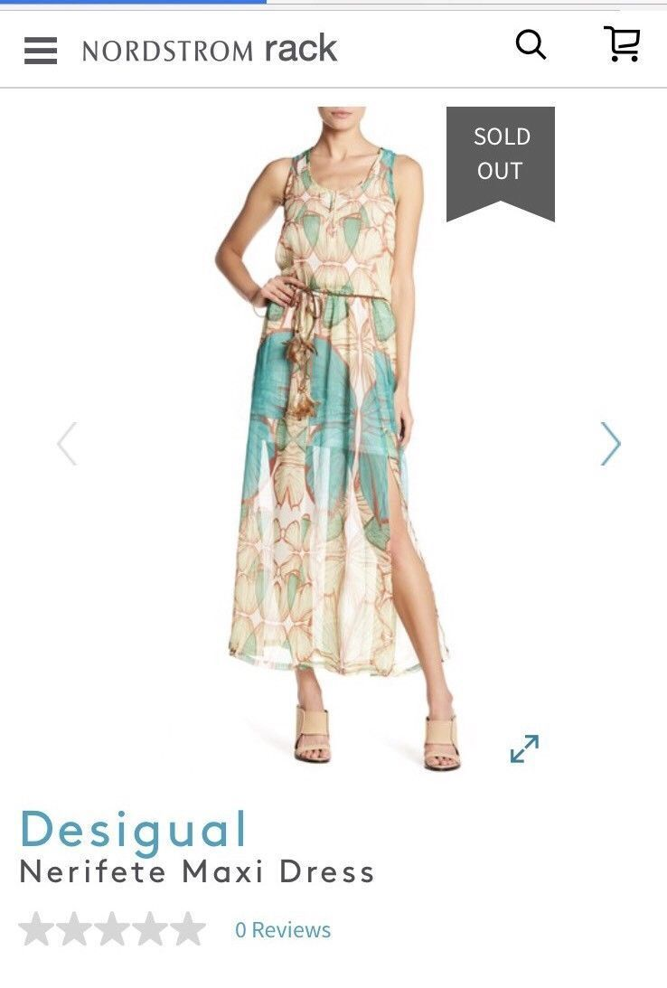Desigual Egret Nerifete Lotus Butterfly Maxi Belted Dress 38 US 4 NEW