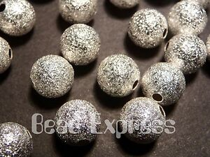 20pc Premium Quality Silver Plated Copper Round Stardust Beads 8mm (M015)