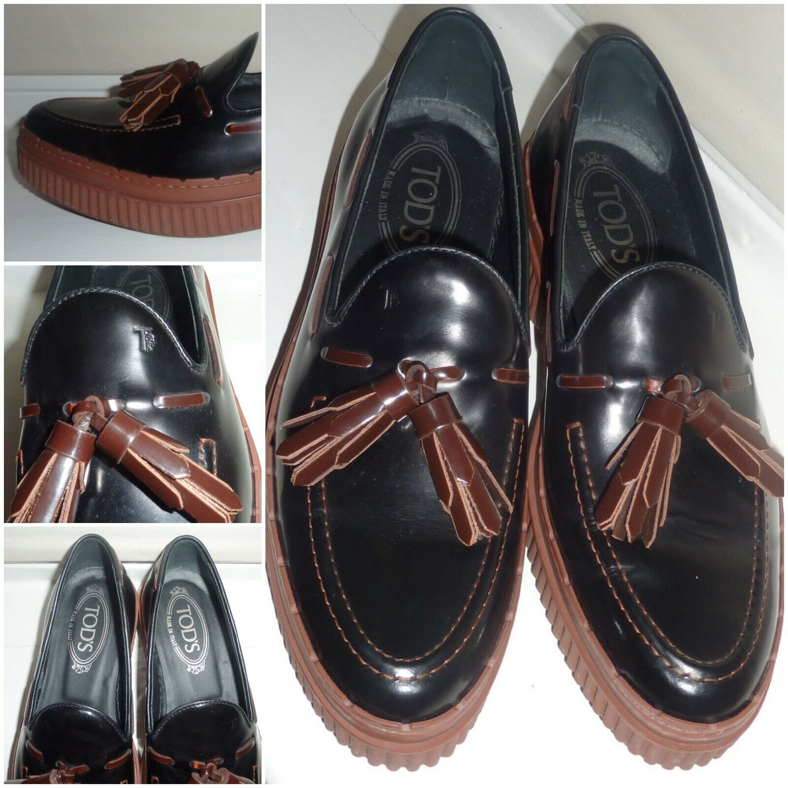 TODS LEATHER PATENT TASSLE LOAFERS - SIZE 4.5 (EURO 37.5) - NEW WITHOUT BOX