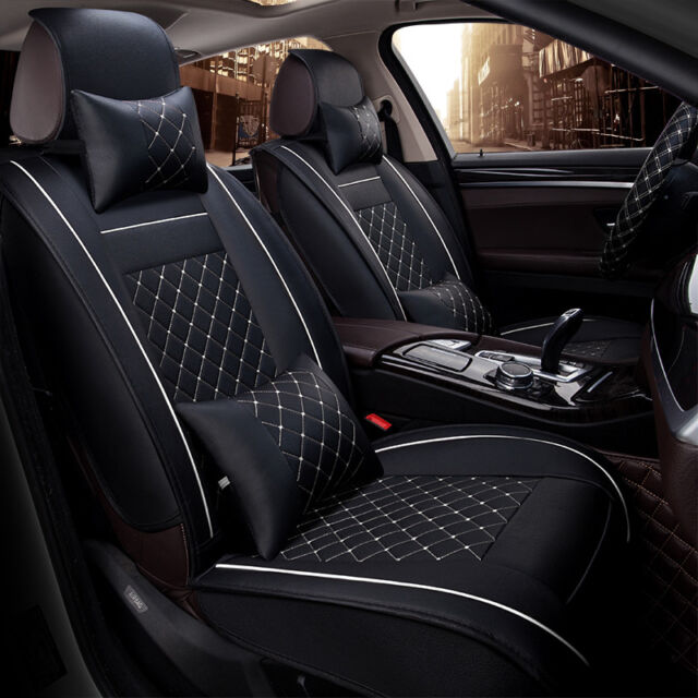2x Front Pu Leather Car Seat Cover Cushion Mat With Pillows Waist