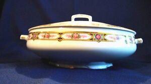 "MZ Altrohlau CM-R Czechoslovakia Porcelain 8"" Covered Vegetable Bowl Pink Roses"