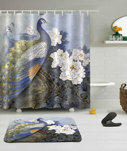 Image Is Loading White Peony Peacock Bathroom Shower Curtain Polyester Hooks