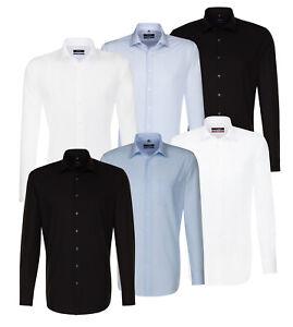 Seidensticker-Herren-Langarm-Hemd-Uni-Popeline-Business-Kent-weiss-blau-amp-schwarz