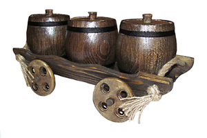 Set Of 3 Dark Handmade Wooden Kitchen Storage Canisters Jar With