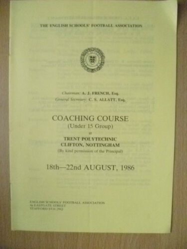 1986 Under 15 Group COACHING COURSE at Trent Polytechnic Clifton, Nottingham