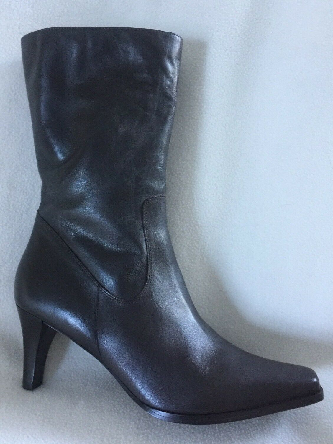 New Eddie Bauer Dark Brown Leather Mid Calf Boots sz 11 M