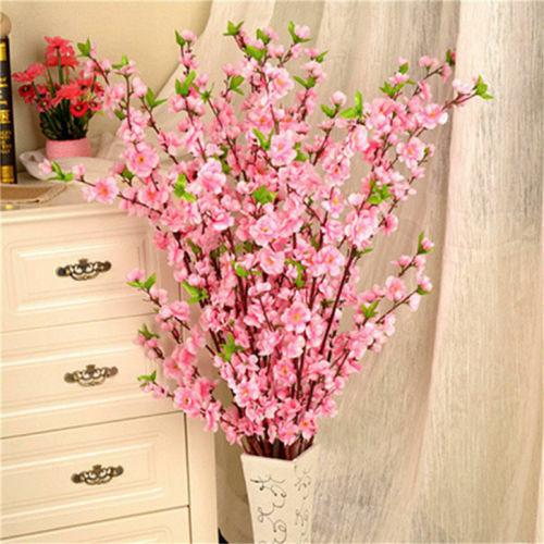 Artificial Cherry Spring Plum Peach Blossom Branch Silk  Fake Flowers Tree Decor