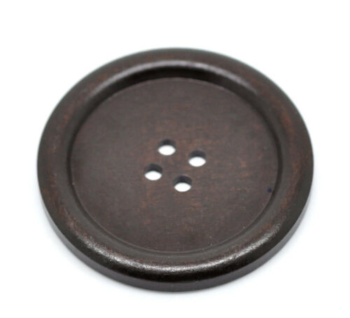 4 hole 10 Extra Large Dark Brown Wooden Button Wood But... 1.5 inch 4cm