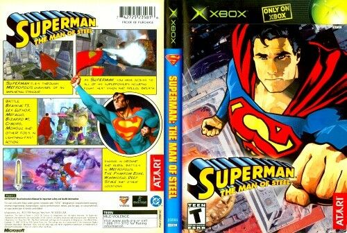 Superman the Man of Steel Microsoft XBOX COMPLETE Case Manual and Game Disc