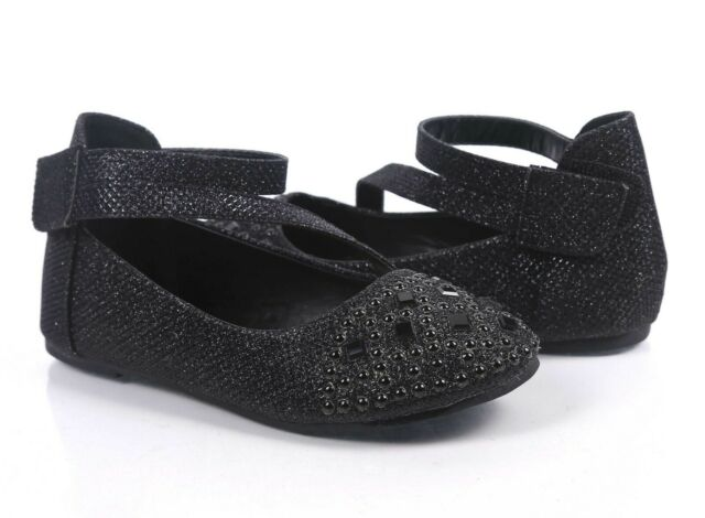 GIRLS BLACK PATENT DRESS SHOES PARTY W// FLOWER EASTER SIZE 12-5 YOUTH SALE$