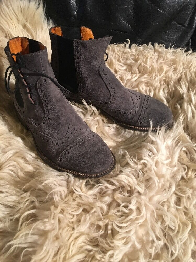 ENRICO FANTINI MADE IN ITALY SUEDE ANKLE BOOTS. SZ 41 8M