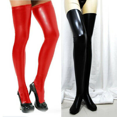 Women Thigh High Socks PU Leather Black Leggings Wetlook