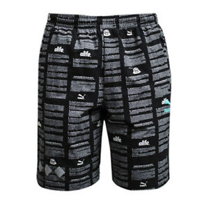 ea3f7fe24484 Puma Alife Olympic Black AOP All Over Print Nylon Mens Shorts 570482 ...