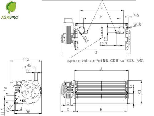 110°C ventola 30 cm TRIAL Ventilatore tangenziale pellet sinistro classe H