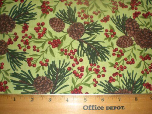 "Fabric-/""Winter Elegance/"" for Moda-Pine Cones Winterberries on Sage Green"