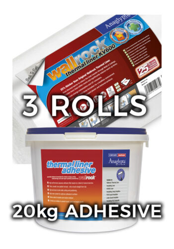 Wallrock 3 Rolls Thermal Liner KV600 /& 20kg Thermal Liner Adhesive