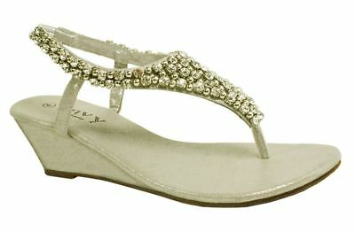 Señoras Diamante & Perla Toe Post Sandalias Cuña UK 6 EU 39 LN19 85
